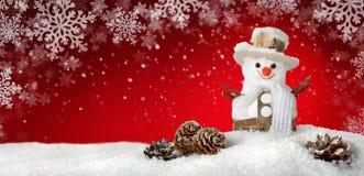 与一个愉快的雪人的现代背景 免版税库存照片