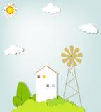 与一个房子的风景小山的 免版税库存照片