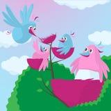 与一个扩展家庭的逗人喜爱的动画片鸟 免版税库存照片