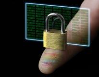 与一个数字式指纹的保护的个人数据 免版税库存图片