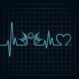 与一个时钟标志的心跳在与团结标志的lineHeartbeat在线 免版税库存照片