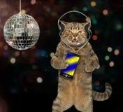 与一个智能手机的猫在迪斯科 免版税库存照片