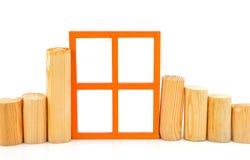 与一个木窗口和日志的概念 图库摄影
