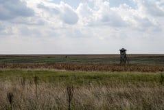 与一个木观测塔的风景 免版税库存照片
