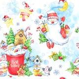 与一个杯子的水彩无缝的样式奶油、姜饼、童话雪人、圣诞老人和礼物 免版税库存照片