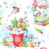 与一个杯子的水彩无缝的样式奶油、姜饼和童话snowmens 库存照片