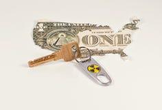 与一个标记的钥匙从核武器 库存图片