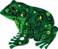 与一个样式的蟾蜍在身体,青蛙在一根专业冷杉木,从沼泽的一个动物坐, 免版税库存照片