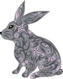 与一个样式的野兔在身体,动物大耳从木头 库存图片