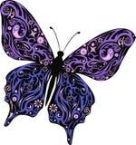 与一个样式的蝴蝶从线和花,与设计的一只飞蛾在翼, 免版税库存照片