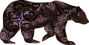 与一个样式从花,与图画的一个动物的熊从线,熊前进,笨拙的掠食性动物的例证 库存照片