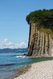 与一个森林的美丽的高峭壁由海的上面的 岩石Kiselev 库存照片