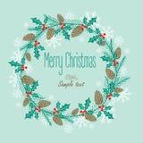 与一个欢乐花圈的贺卡 背景设计要素空白四的雪花 免版税库存图片