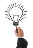 画与一个永久标志的商人一个电灯泡 免版税库存图片