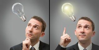 与一个电灯泡的生意人认为的概念 库存图片