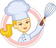 与女孩厨师字符设计的面包店商标 库存图片