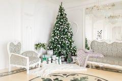 与一个白色壁炉,装饰的树,明亮的沙发,大窗口的经典公寓 圣诞节森林上了凸边早晨多雪的线索宽冬天 免版税库存照片