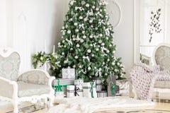 与一个白色壁炉,装饰的树,明亮的沙发,大窗口的经典公寓 圣诞节森林上了凸边早晨多雪的线索宽冬天 免版税库存图片