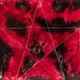 与一个白色星的方形的水彩在红色和黑色 免版税库存图片