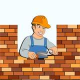 与一个砖墙的建造者设计的 库存图片