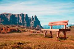 与一个硕大长凳纪录的迷人的秋天风景在Alpe d 免版税图库摄影