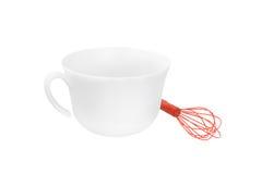 与一个碗的搅拌器在白色背景 图库摄影