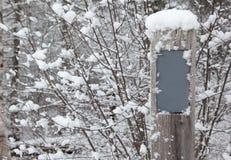 与一个空白的标志的一个冬天降雪 免版税库存照片