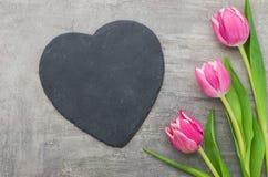 与一个空的心形的标志的桃红色郁金香 免版税库存图片