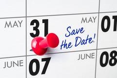 与一个红色别针的挂历- 5月31日 免版税库存照片