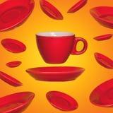 与一个红色咖啡茶杯的创造性的超现实的设计在黄色背景 免版税库存照片