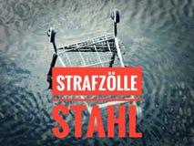 与一个统计的图表对与用德语在英国重税钢的Strafzölle Stahl的当前金属价格 库存照片