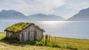 与一个老小屋的典型的斯堪的纳维亚风景与一个绿色屋顶 库存照片