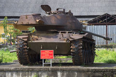 与一个膨胀的塔的美国坦克M-41在颜色城市博物馆  越南 免版税库存照片