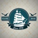与一个船舶题材的葡萄酒标签 免版税库存图片
