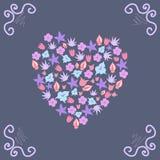与一个花卉样式和卷毛的卡片 免版税库存照片