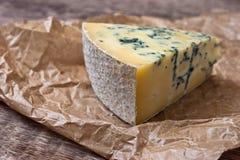 与一个蓝色模子的乳酪在本文 免版税库存照片