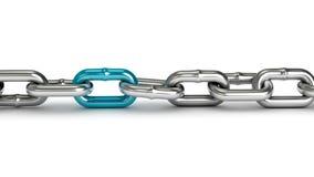 与一个蓝色链接的镀铬物链子 库存例证