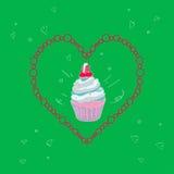 与一个蛋糕的图象的例证在一个框架的以在鲜绿色的背景的心脏的形式 向量 免版税图库摄影