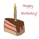 与一个蜡烛的生日蛋糕在上面 免版税图库摄影
