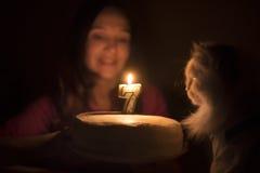 与一个蜡烛的生日蛋糕猫的 图库摄影