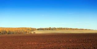 与一个被犁的领域的农村风景 免版税库存图片