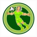 与一个被绘的字符,足球运动员的一张海报 库存图片