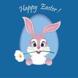 与一个逗人喜爱的兔宝宝的愉快的复活节卡片 免版税库存照片