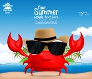 与一个逗人喜爱的动画片螃蟹的夏天背景 图库摄影