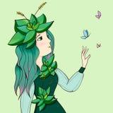 与一个逗人喜爱的女孩在多汁植物中,女孩多汁植物公主的例证 免版税库存照片