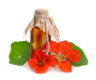 与一个配药瓶的金莲花花 库存照片