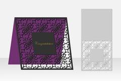 与一个重复的几何样式的卡片激光切口的 剪影设计 库存图片