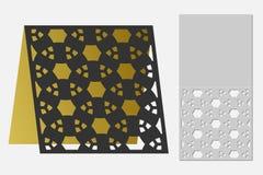 与一个重复的几何样式的卡片激光裁减的 剪影设计 免版税库存图片