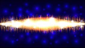 与一个金黄发光的区域以声波的形式,音频波浪设计的马赛克背景 免版税库存图片