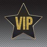与一个金黄边缘和题字VIP的五针对性的星 库存照片